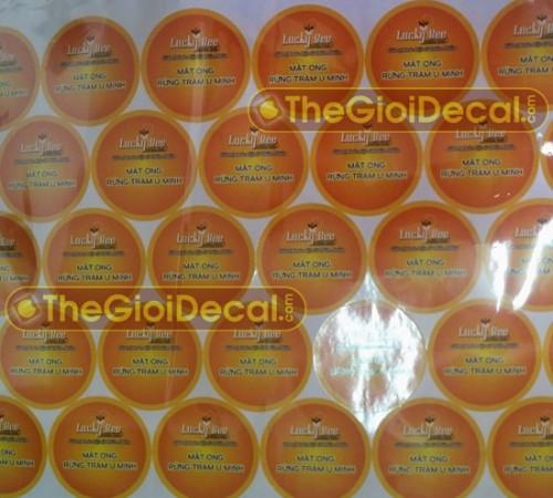 In decal sản phẩm mật ong U Minh